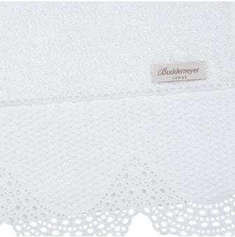 Toalha Lavabo Buddemeyer Luxus Nash Branco c/ renda Branca