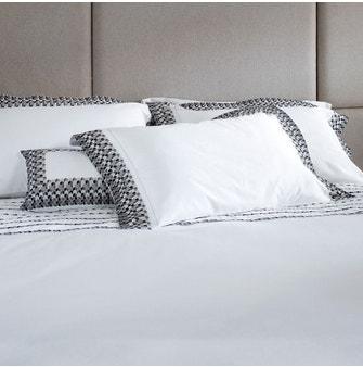 Jogo de cama Queen Cetim 600 Fios Buddemeyer Luxus Bizâncio 100% Algodão Penteado Branco/Preto e Branco 3 peças