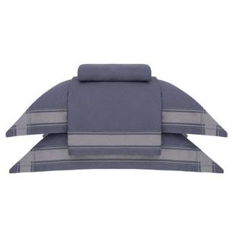 Jogo de Cama Super King Cetim 600 Fios Buddemeyer Luxus Xadrez 100% Algodão Penteado Azul Naval/Cinza Cosmic 4 peças