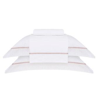 Jogo de Cama Super King Cetim400 Fios Buddemeyer Luxus Fantinel 100% Algodão Penteado Branco c/ bordado Rosa 4 peças