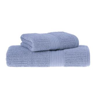 Jogo de Toalhas Buddemeyer Fio Penteado Canelado Banho Azul Claro 2 peças