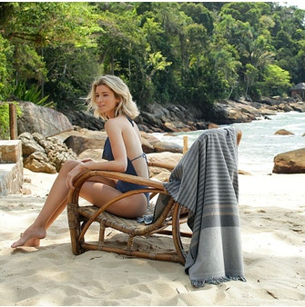 Toalha Praia com Franja Buddemeyer Luxus Emporium Multicolorida