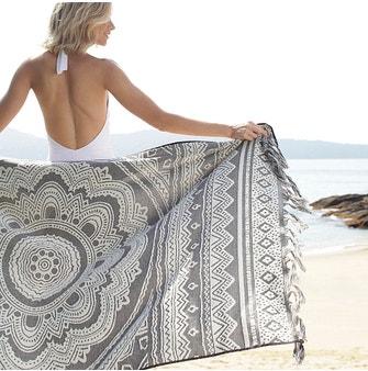 Toalha Praia com Macramê Buddemeyer Luxus Mystic Grafite/Bege