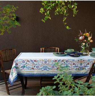 Toalha de Mesa Buddemeyer Sicily Redonda 180x180 Azul