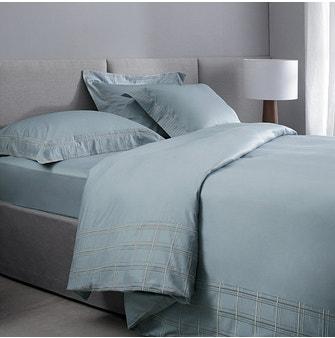 Kit Capa p/ Edredom Super King Cetim 400 Fios Buddemeyer Luxus Foster 100% Algodão Penteado Azul Malta 3 peças