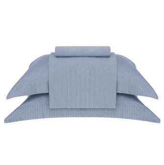 Jogo de Cama Super King Cetim 400 Fios Buddemeyer Luxus Foster 100% Algodão Penteado Azul Malva 4 peças